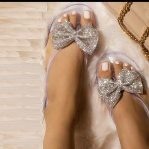 RHINESTONE 🎀 BOWKNOT  OPEN TOE JELLY SANDALS 🎀